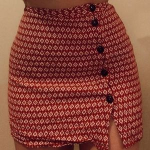 Hippy Printed Button Up Skirt
